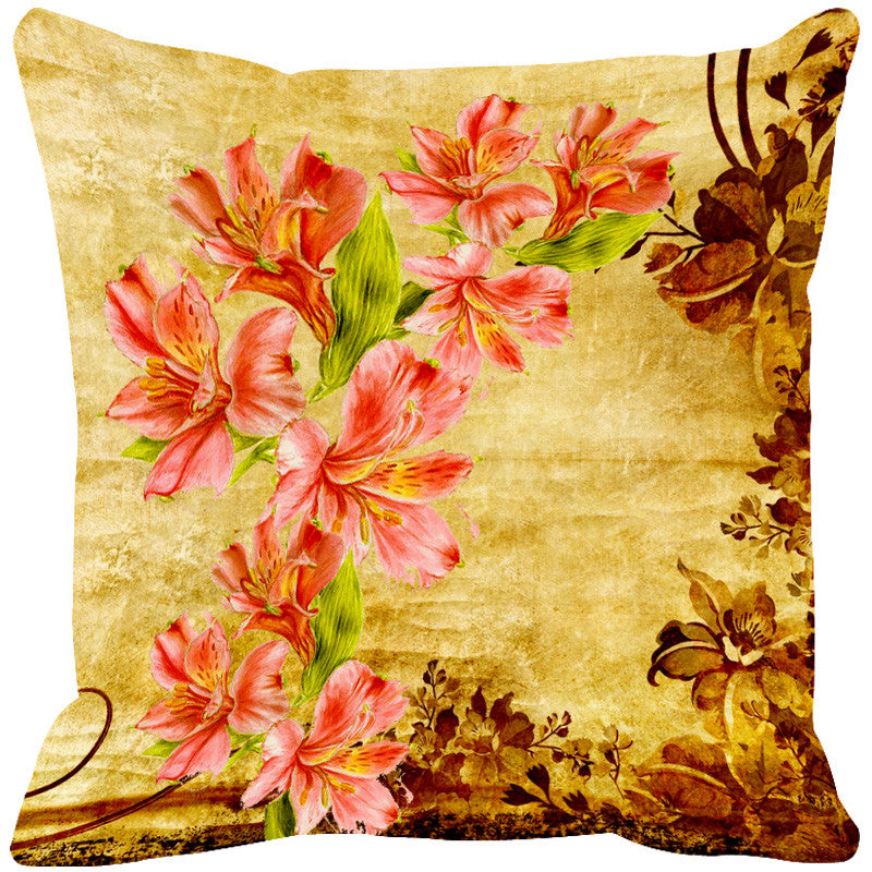 Leaf Designs Magenta & Orange Cushion Cover - Set Of 2