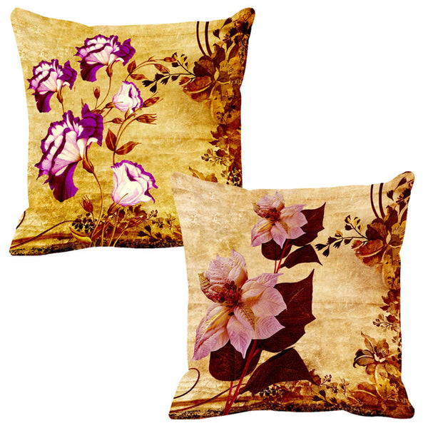 Leaf Designs Magenta & Lilac Cushion Cover - Set Of 2