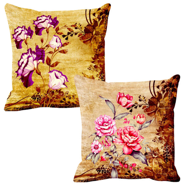 Leaf Designs Magenta & Pink Cushion Cover - Set Of 2