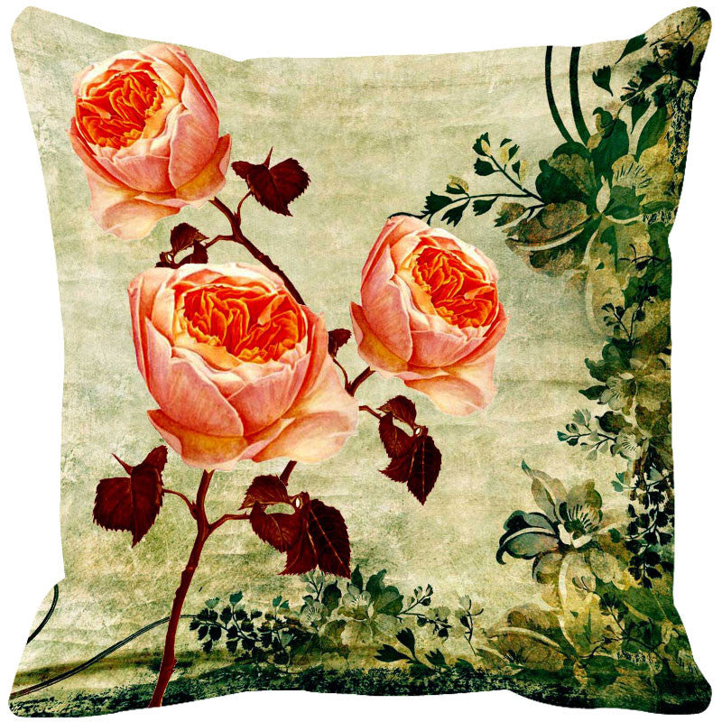 Leaf Designs Peach Vintage Cushion Cover - Set Of 2