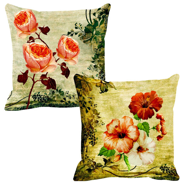 Leaf Designs Peach & White Cushion Cover - Set Of 2
