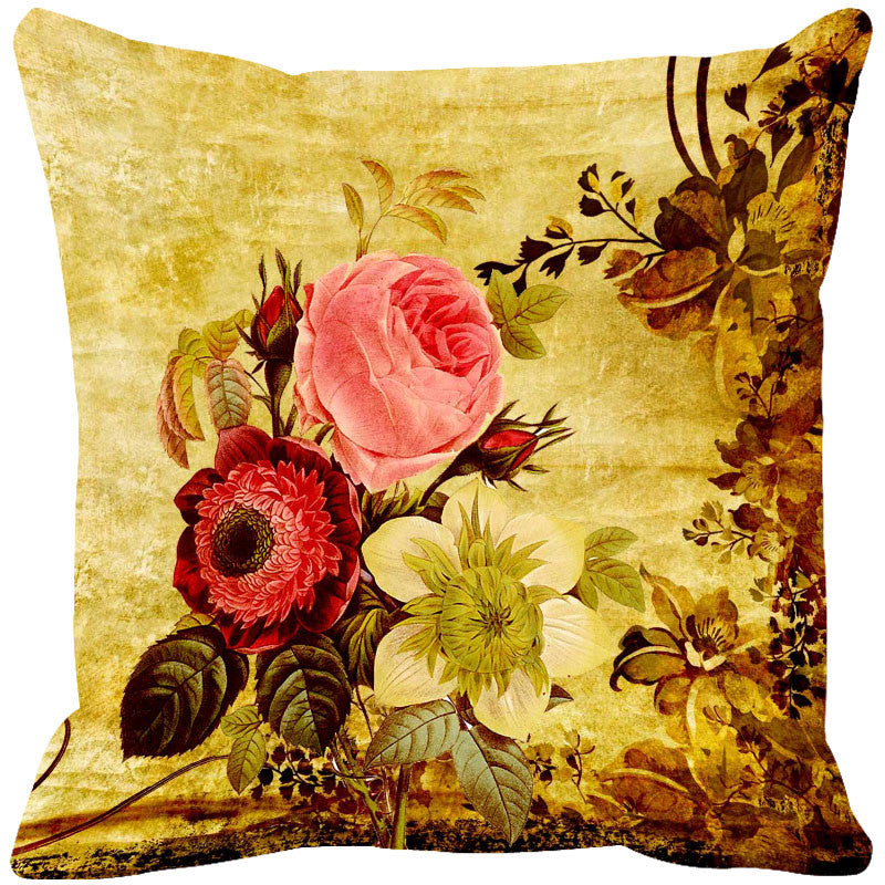Leaf Designs Pink & Yellow Vintage Cushion Cover - Set Of 2