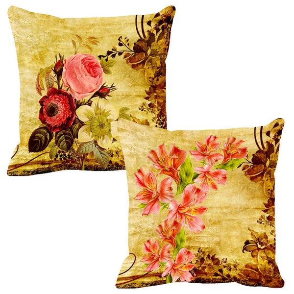 Leaf Designs Peach & Pink Cushion Cover - Set Of 2