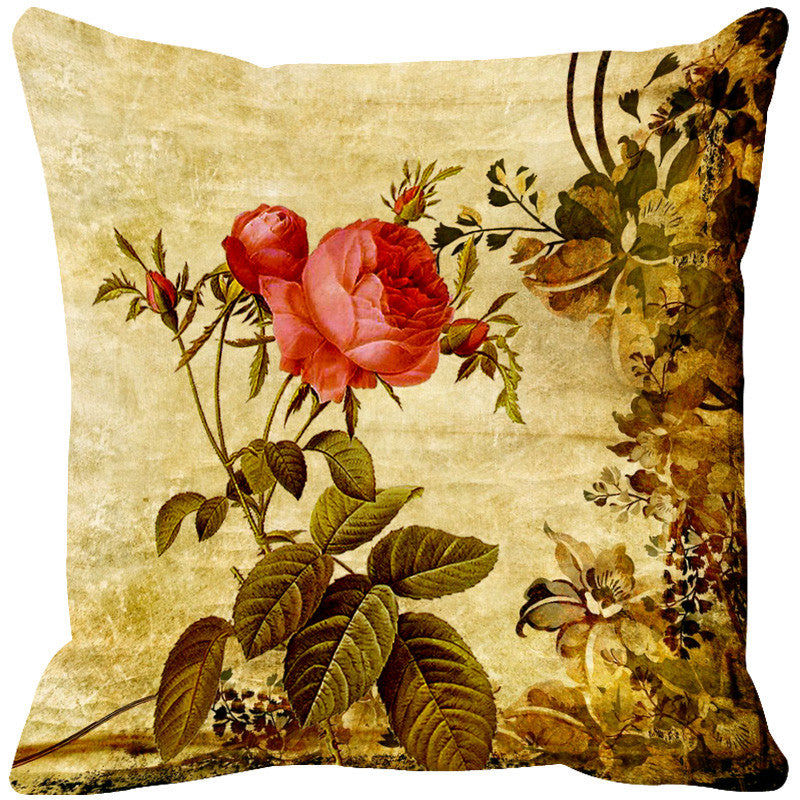 Leaf Designs Peach & Dark Red Cushion Cover - Set Of 2