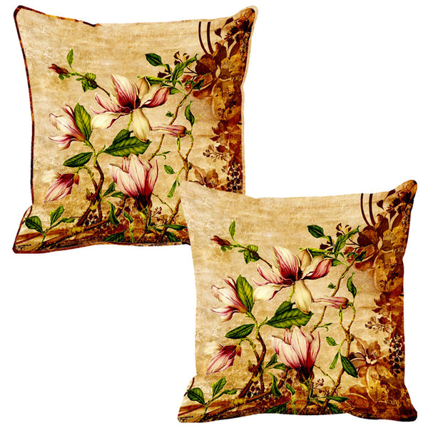 Leaf Designs Sepia Vintage Cushion Cover - Set Of 2