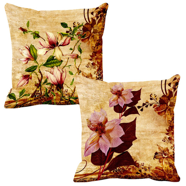 Leaf Designs Light Pink & Lilac Cushion Cover - Set Of 2