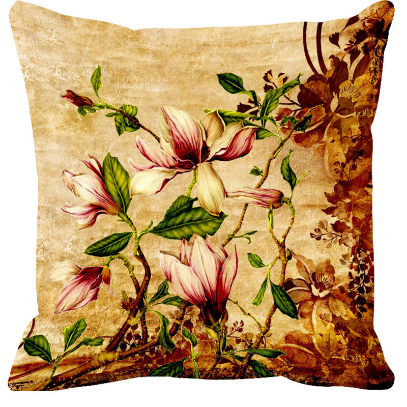 Leaf Designs Light Pink & Yellow Cushion Cover - Set Of 2