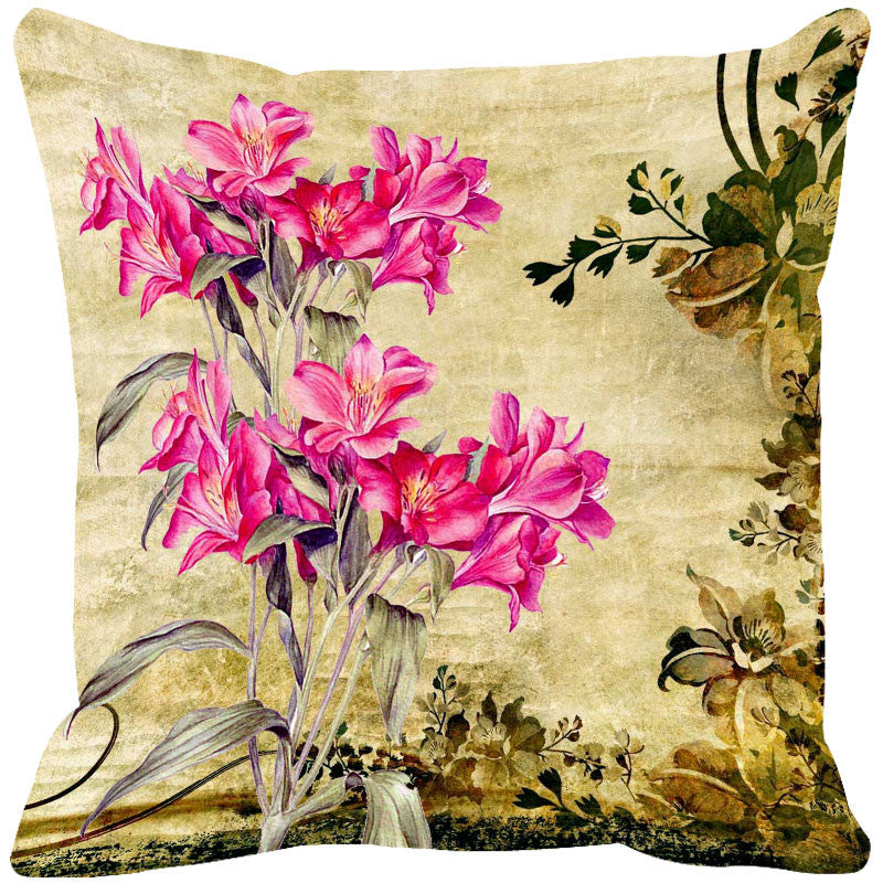 Leaf Designs Cream & Pink Vintage Cushion Cover - Set Of 2