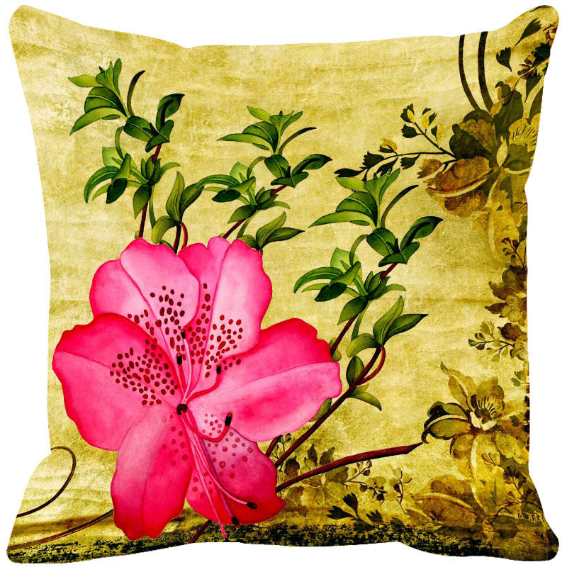 Leaf Designs Bright Pink & Dark Pink Cushion Cover - Set Of 2
