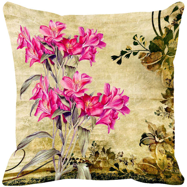 Leaf Designs Bright Pink & Light Pink Cushion Cover - Set Of 2