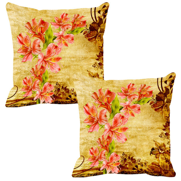 Leaf Designs Orange & Yellow Vintage Cushion Cover - Set Of 2