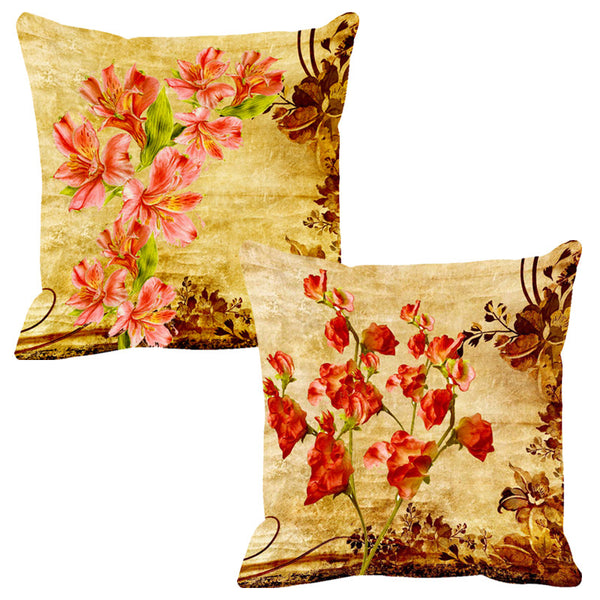 Leaf Designs Light Orange & Bright Orange Cushion Cover - Set Of 2