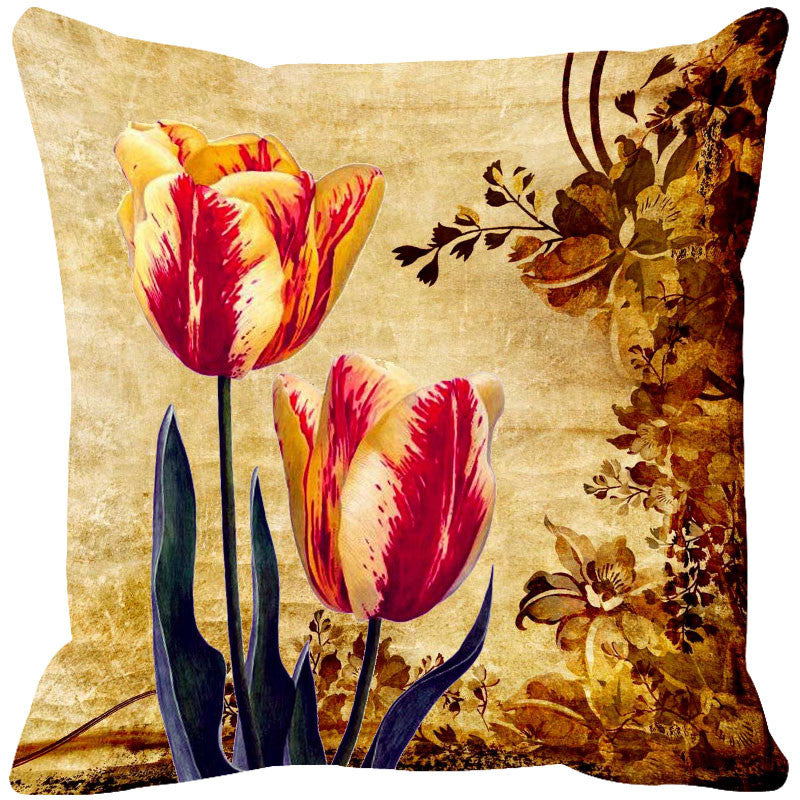 Leaf Designs Light Orange & Yellow Cushion Cover - Set Of 2