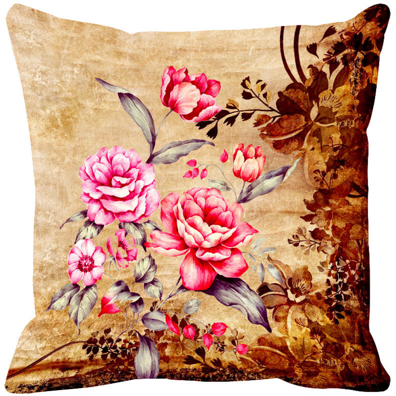 Leaf Designs Light Orange & Pink Cushion Cover - Set Of 2