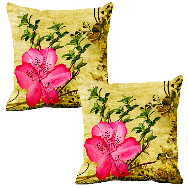 Leaf Designs Hot Pink Vintage Cushion Cover - Set Of 2