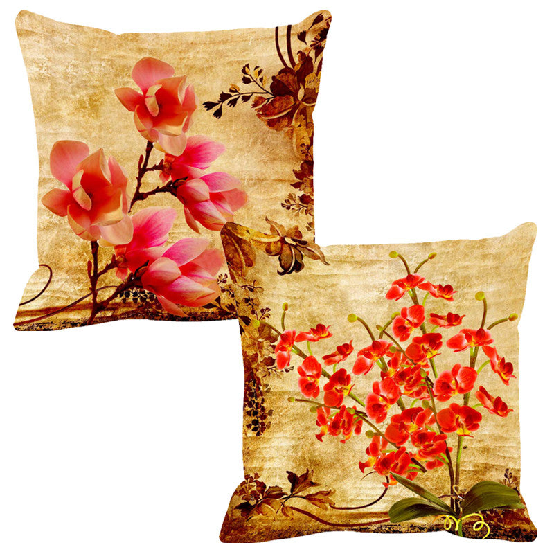 Leaf Designs Double Orange Cushion Cover - Set Of 2