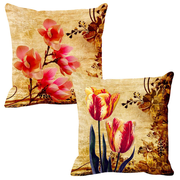 Leaf Designs Deep Orange & Yellow Cushion Cover - Set Of 2