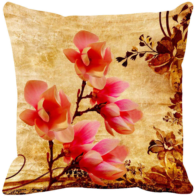 Leaf Designs Deep Orange & Baby Pink Cushion Cover - Set Of 2