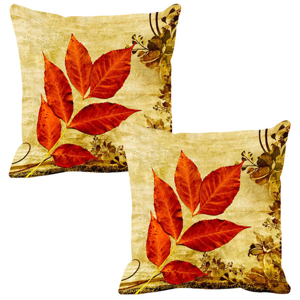 Leaf Designs Bright Red & Yellow Vintage Cushion Cover - Set Of 2