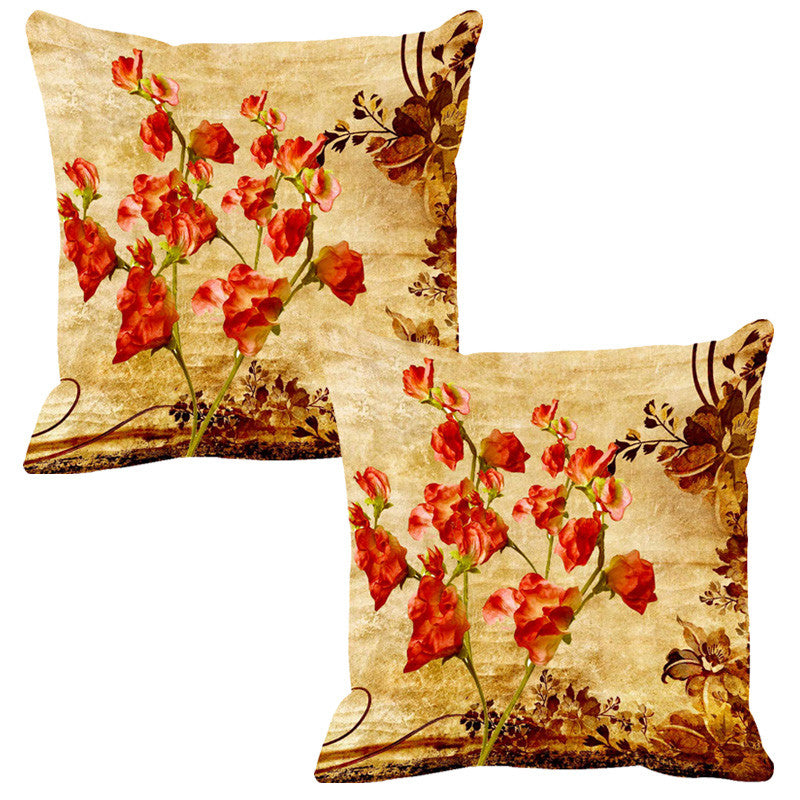 Leaf Designs Red & Sepia Vintage Cushion Cover - Set Of 2