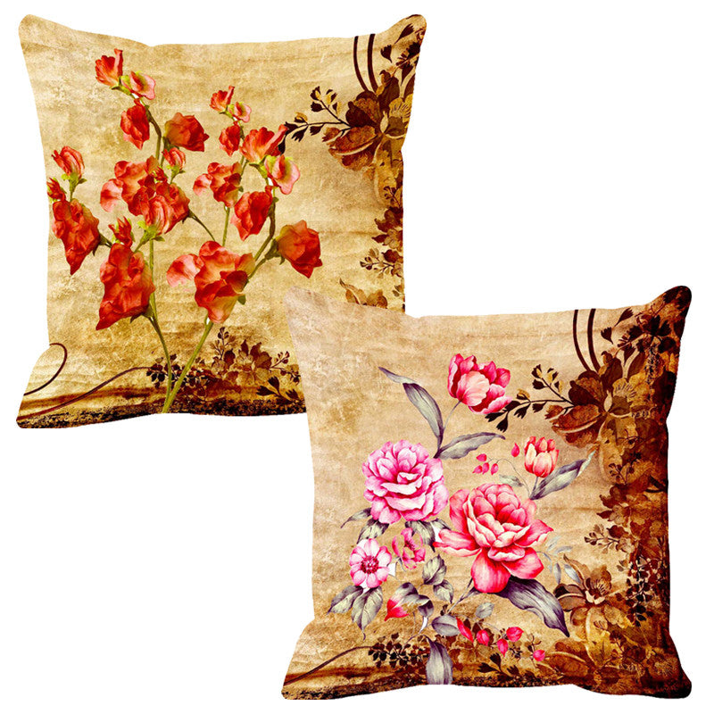 Leaf Designs Perky Orange & Baby Pink Cushion Cover - Set Of 2