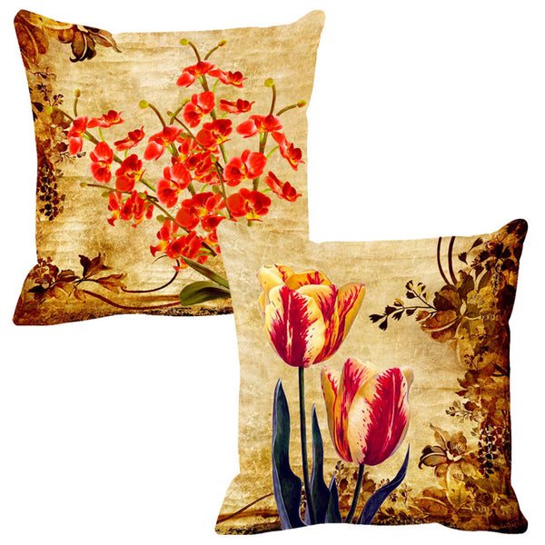 Leaf Designs Orange Stems & Yellow Cushion Cover - Set Of 2