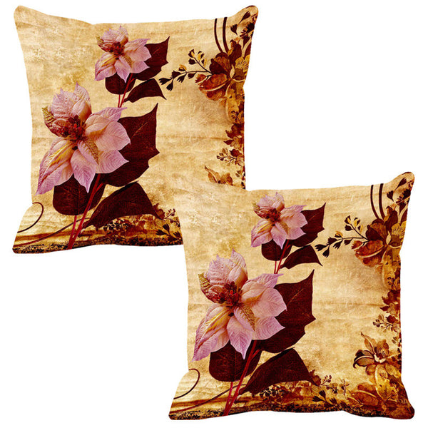 Leaf Designs Pale Pink & Sepia Vintage Cushion Cover - Set Of 2