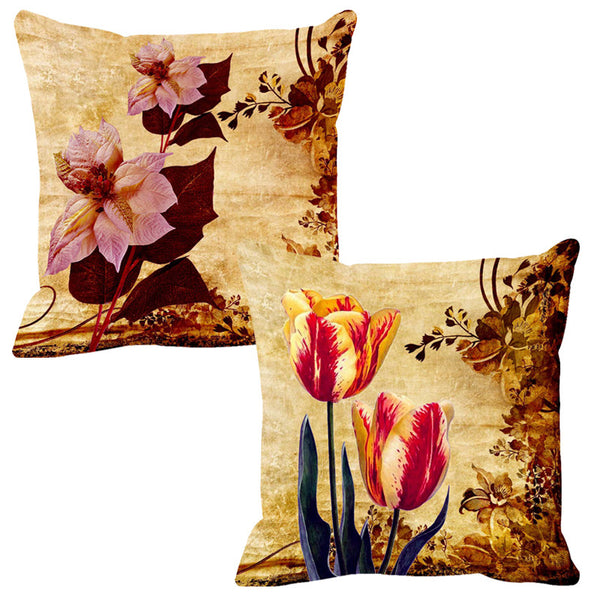 Leaf Designs Lilac & Yellow Cushion Cover - Set Of 2