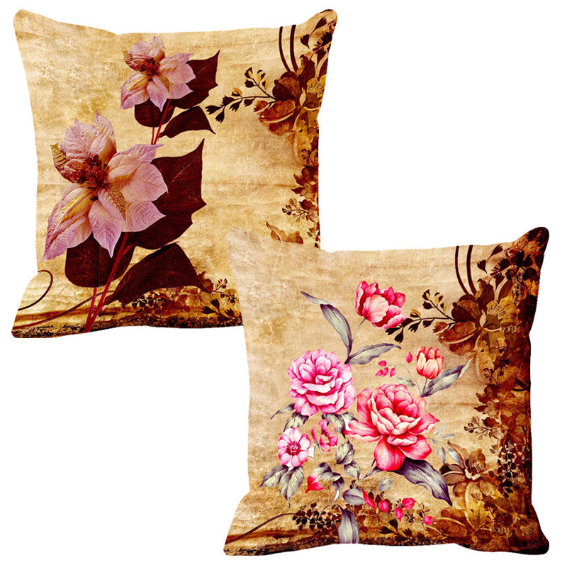 Leaf Designs Lilac & Baby Pink Cushion Cover - Set Of 2