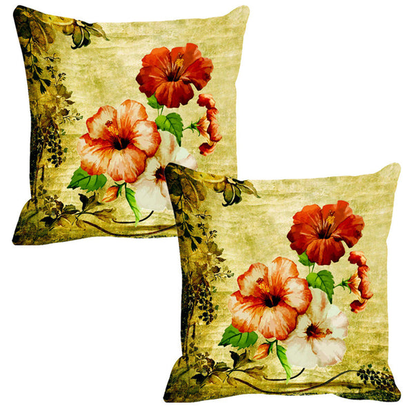Leaf Designs Green & Yellow Vintage Cushion Cover - Set Of 2