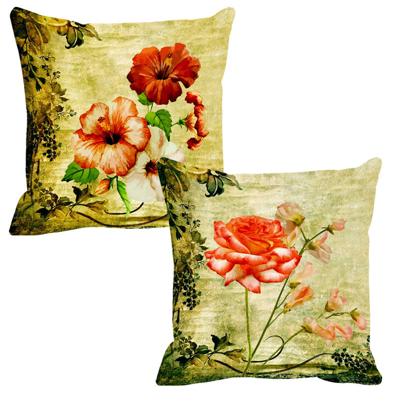 Leaf Designs Peach & Light Orange Cushion Cover - Set Of 2
