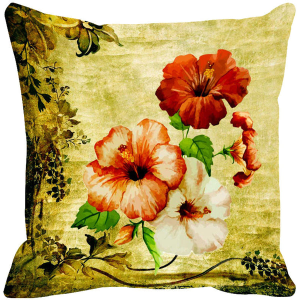 Leaf Designs Peach & Dark Orange Cushion Cover - Set Of 2