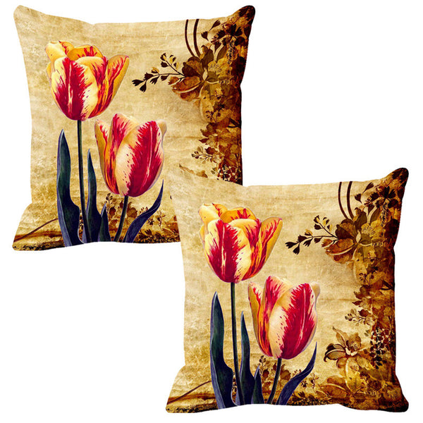 Leaf Designs Pink & Lemon Vintage Cushion Cover - Set Of 2
