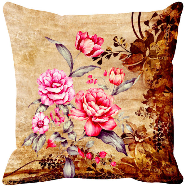 Leaf Designs Pink & Brown Vintage Cushion Cover - Set Of 2