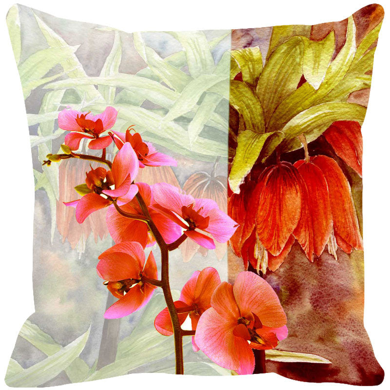 Leaf Designs Hot Pink & Dark Peach Cushion Cover - Set Of 2