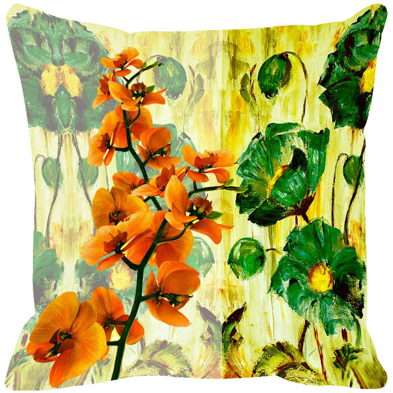 Leaf Designs Orange & Green Summer Floral Cushion Cover - Set Of 2