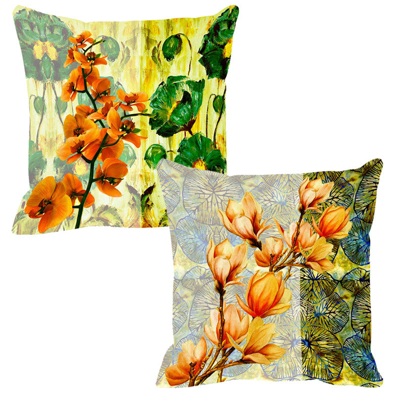 Leaf Designs Green & Yellow Cushion Cover - Set Of 2