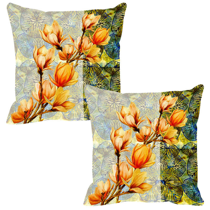 Leaf Designs Yellow & Multi Summer Floral Cushion Cover - Set Of 2