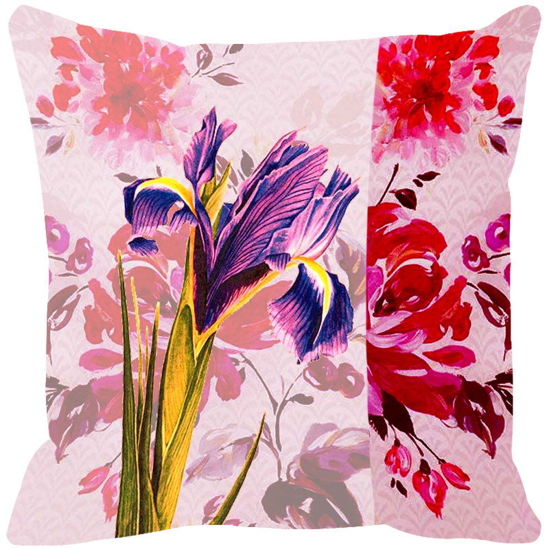 Leaf Designs Purple & Pink Cushion Cover (A) - Set Of 2