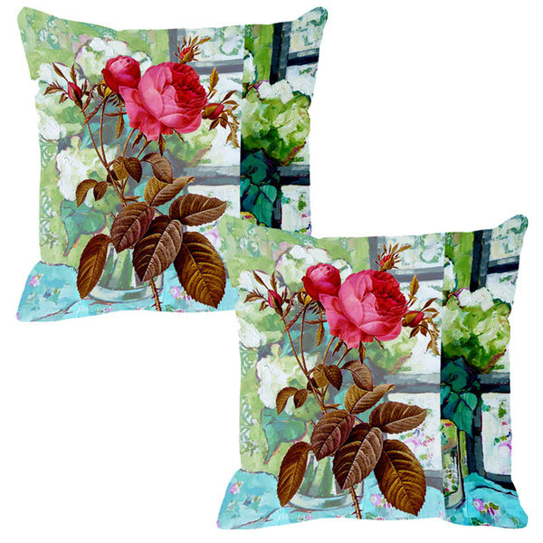 Leaf Designs Multicoloured Summer Floral Cushion Cover - Set Of 2