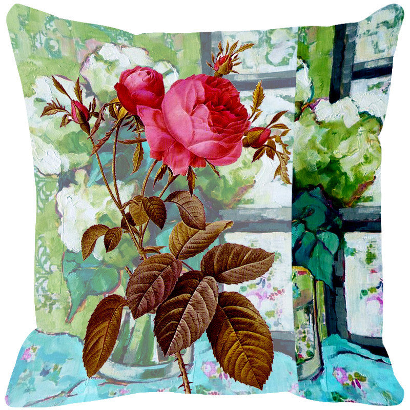 Leaf Designs Aquamarine Blue & Pink Cushion Cover - Set Of 2