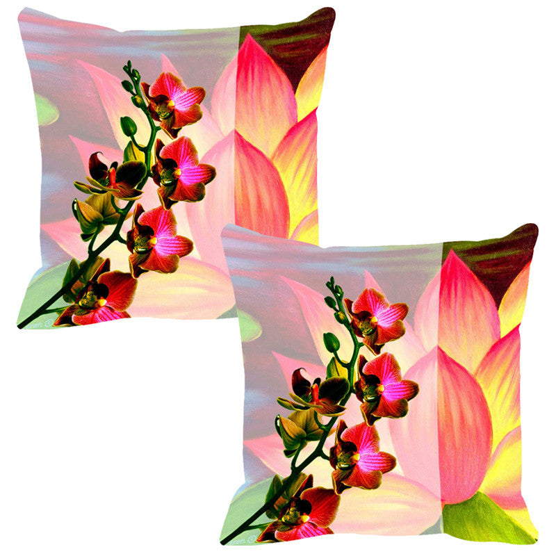 Leaf Designs Pink & Yellow Summer Floral Cushion Cover - Set Of 2