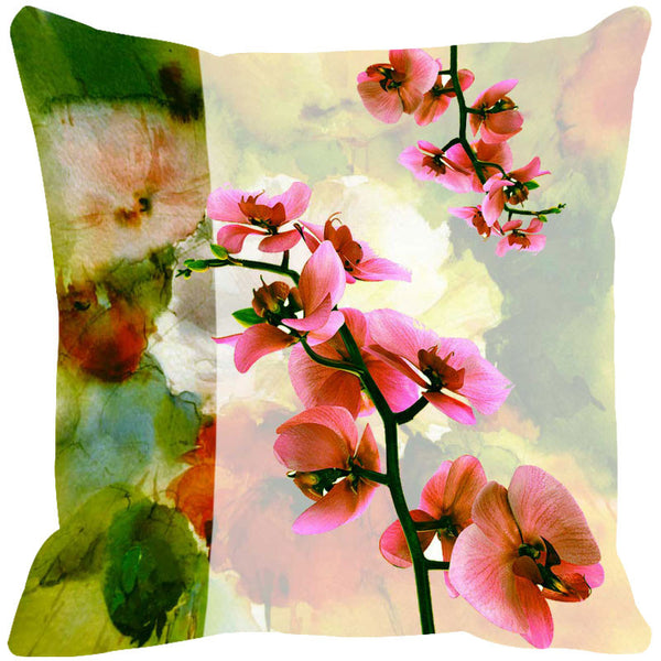 Leaf Designs Soft Pink & Bright Green Cushion Cover - Set Of 2