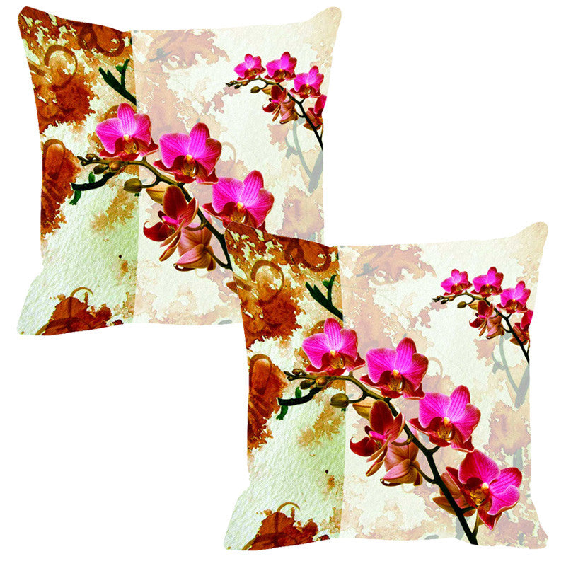 Leaf Designs Hot Pink & Rust Summer Floral Cushion Cover - Set Of 2