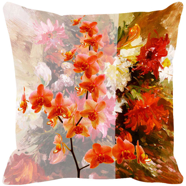 Leaf Designs Orange & Mustard Summer Floral Cushion Cover - Set Of 2