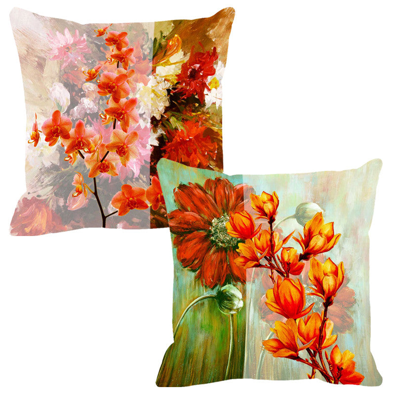 Leaf Designs Orange Tones Cushion Cover - Set Of 2