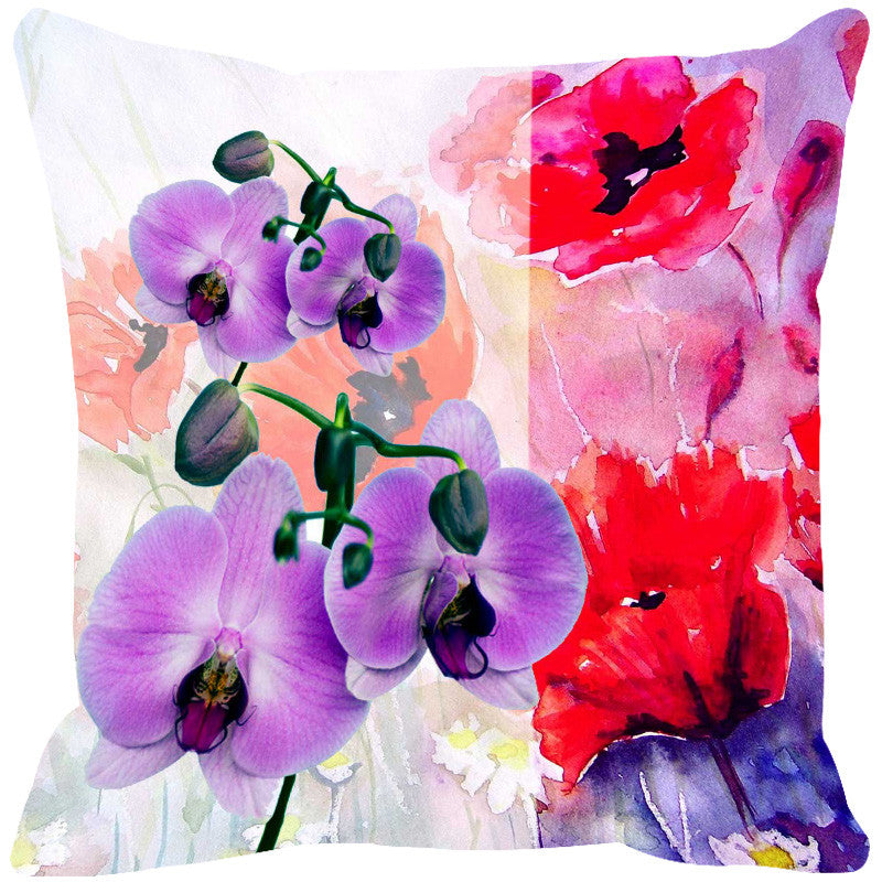 Leaf Designs Purple & Red Summer Floral Cushion Cover - Set Of 2