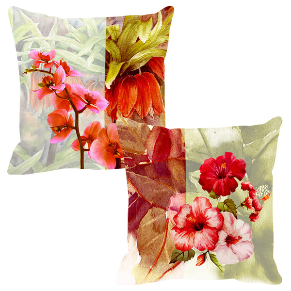 Leaf Designs Peach & Baby Pink Cushion Cover - Set Of 2