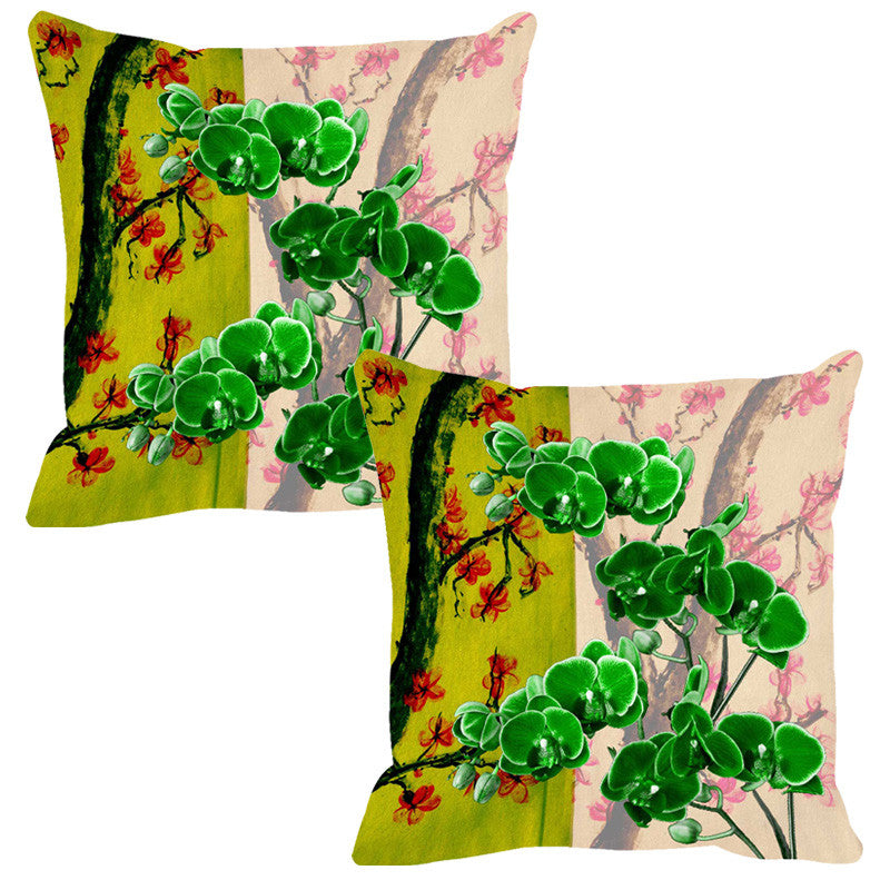 Leaf Designs Bright Green Summer Floral Cushion Cover - Set Of 2