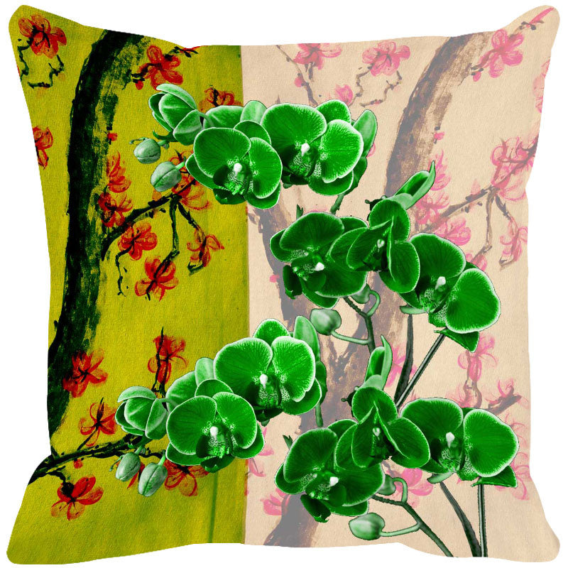Leaf Designs Bright Green & Orange Cushion Cover - Set Of 2